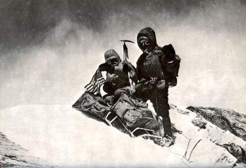 John Roskelley and Ngawang Sanden on Dhaulagiri Summit, May 12 1973.