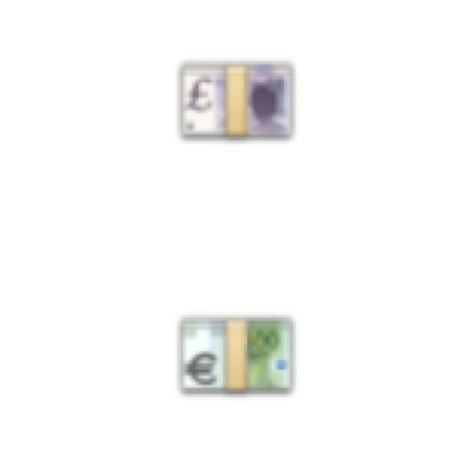 € & £ emojis magnified (no filter)