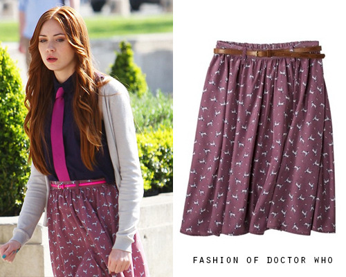 Karen Gillan - On Set of NTSF:SD:SUV Target Xhilaration Juniors Belted Skirt-no longer available In other colors/patterns on Ebay
