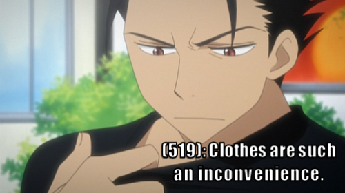 [Image: Kurogane uncomfortably examines his T-shirt.] [Text: (519): Clothes are such an inconvenience.]