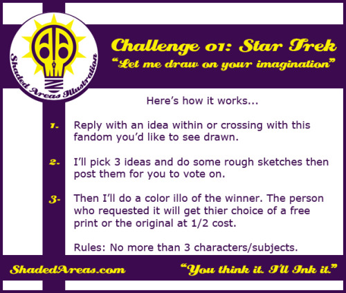 shadedareas:  This contest theme: Star Trek! Give me some art to do to take away the sting from the recent film. Any Trek storyline is fair game.Spread the word. What Star Trek art can you imagine?