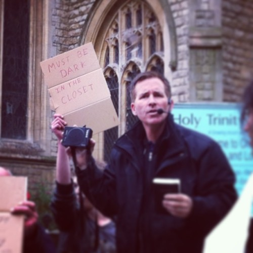Angry religious public preacher getting heckled in the city of Cambridge #jesus #heckle #nonsense #cambridge #religion #bollocks #preacher #god