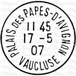 janeofjane:  French Stamp Postmark Post Mark Pope Palace Letter Digital Download for Iron Transfer Totes Pillows Tea Towels Collage Sheet Avignon DT421   ❤ liked on Polyvore