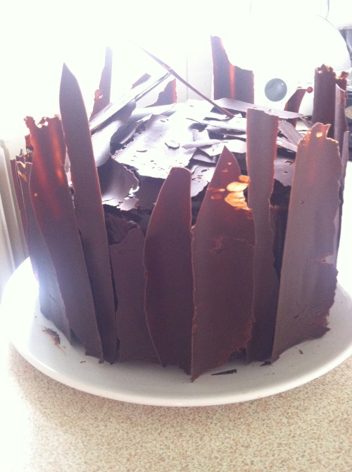 April 2013- Chocolate orange cake, complete with ganache and tempered chocolate shards