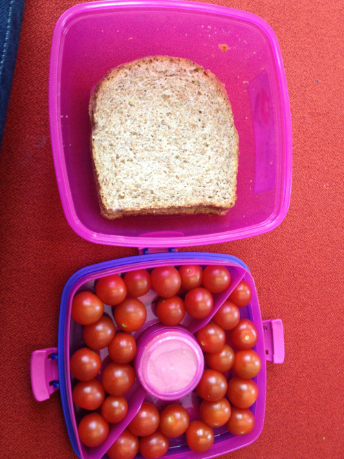 Today's lunch: cherry tomatoes with plain hummus and a peanut butter sandwich on Ezekiel bread :)