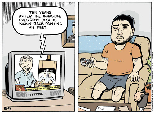 "joe:  ""Ten Years After The War"" - © Matt Bors, 2013 (via)"