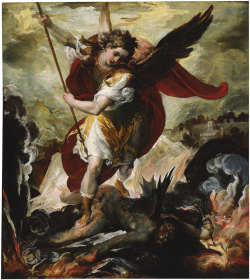 kecobe:   Francesco Maffei (Italian; ca. 1605–1660) The Archangel Michael Overthrowing Lucifer Oil on stone, ca. 1656