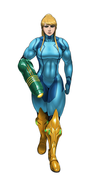 Colored version of buff Samus. I feel like she's conveying the wrong attitude here.  My original intent was simply to show off her physique.  Not portray her as some mean-mugging bad-ass.  Well, she is bad-ass in a sense, but not in this fashion.  Anyway, it was still pretty fun to draw.