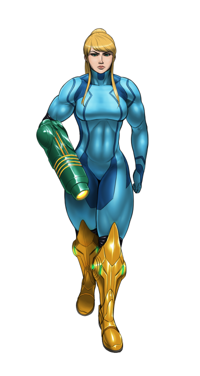 nikcesco:  Colored version of buff Samus. I feel like she's conveying the wrong attitude here.  My original intent was simply to show off her physicality.  Not portray her as some mean-mugging bad-ass.  Well, she is bad-ass in a sense, but not in this fashion.  Anyway, it was still pretty fun to draw.