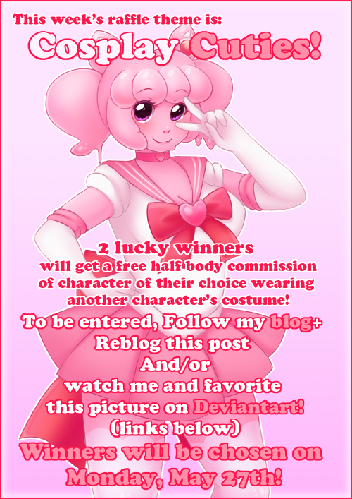 pastellettart:  Here's this week's raffle (sorry it took so long to get up, I had technical difficulties)! 2 randomly chosen winners will get a free drawing of a character of their choice drawn in another character's costume! Yaay! This is a free raffle. You don't need to purchase anything, however you do need to follow the rules below to be entered. RAFFLE RULES : You can enter two ways:  By following my art blog (pastellettart) and reblogging this post   AND/OR By +watching me on DeviantArt and adding this raffle picture to your favorites.  If you have both a Tumblr and DeviantArt and follow those steps, you get entered TWICE! Yay! (which also means your have a chance of winning both prizes! Whoa!)  If your Tumblr account wins, I'll contact you through Tumblr. If your DeviantArt account wins, I'll contact you through Deviantart.  Do not make multiple accounts to try to win more prizes. If I find that you've done this, I'll remove you from the raffle and blacklist your username(s). I will be happy to draw anthros, original characters, characters of all gender identities and crossdressing. However, animal characters will be anthro-ized. Winners will be randomly chosen and announced next Monday, May 27th!