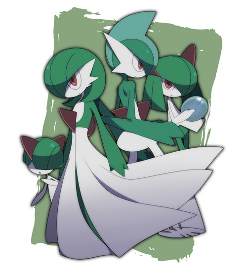 alternativepokemonart:  Artist Ralts, Kirlia, Gardevoir, and Gallade by request.