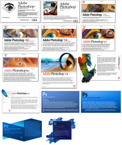 Adobe Photoshop. Adobe is celebrating it's 30th anniversary this week. To commemorate this here is the complete collection of Adobe Photoshop splash screens. Started by Charles Geschke and John Warnock following their departure from Xerox PARC, they started working on PostScript, a page description language eventually used in desktop publishing. Following PostScript, Adobe set to work on creating digital fonts for computers. Their first standard, called Type 1, was licensed to Microsoft. Adobe went on to create the OpenType font format in 1996 and in 2003, they finished converting the Type 1 font library to OpenType font. The first Adobe software product was Adobe Illustrator which, interestingly enough, was a piece of software that originated from their own in-house font-creating software. Adobe then released perhaps their most popular product to date in 1989: Photoshop.