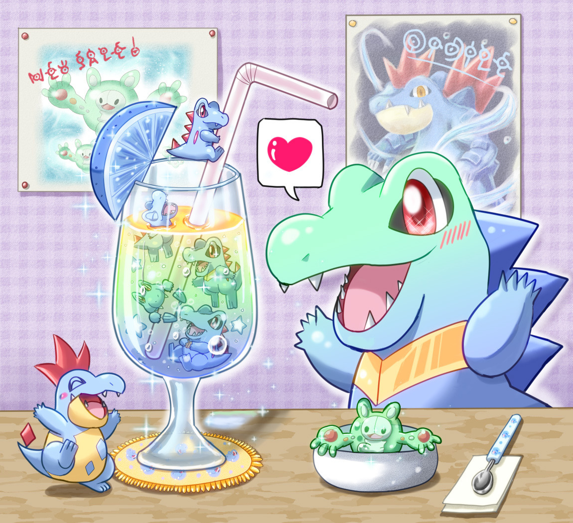 alternativepokemonart:  Artist: Smile0129 on Pixiv Totodile and Croconaw by request.