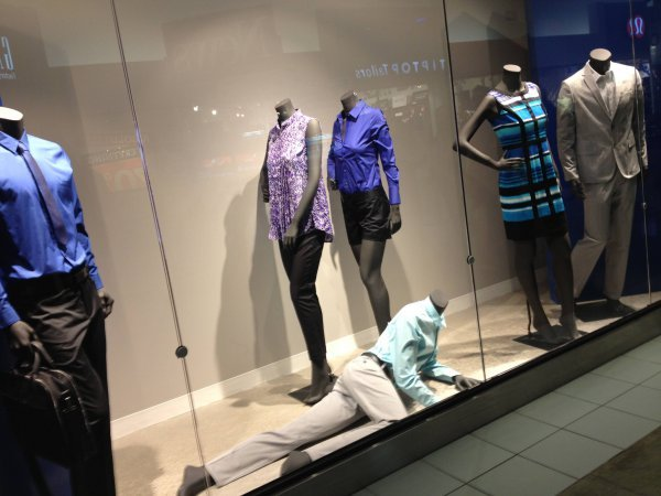 collegehumor:  Looks Like This Mannequin is Feelin' Pretty Fabulous Today Or is he trying to sneak out of the display?