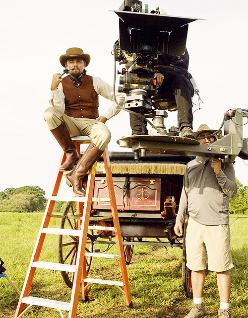 Leonardo DiCaprio on the set of Django Unchained
