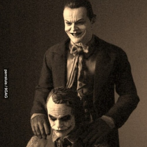 the9gagfeed:  Two #scary #awesome #people #joker #JackNicholson #HeathLedger #batman #9gag by appy_1195 http://instagr.am/p/WZUm6Fk51Z/