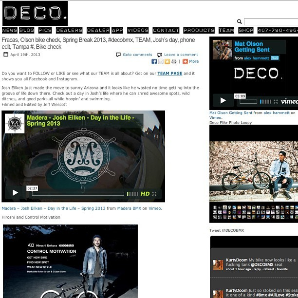 This weeks post is stuffed, so rad. Hit it up here http://decobmx.com/2013/04/fracas-olson-bike-check-spring-break-2013-decobmx-team-joshs-day-phone-edit-tampa-bike-check/ #decobmx #shakeyourdeco #decosuccubuslite #coloradeco @chaddegroot
