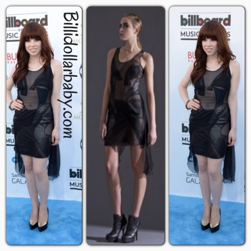 Carly Rae Jepsen in Dyanthe at the 2013 Billboard Music Awards Carly Rae Jepsen on the blue carpet at the MGM Grand Garden Arena for the 2013 Billboard Music Awards in Las Vegas. She wore a black sheer Dyanthe Dress from the Fall 2012 Collection.
