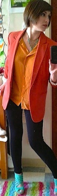 Spring=Bright Colors shoes: Charlotte Russe blazer, necklace, and leggings: Forever 21 shirt: Goodwill