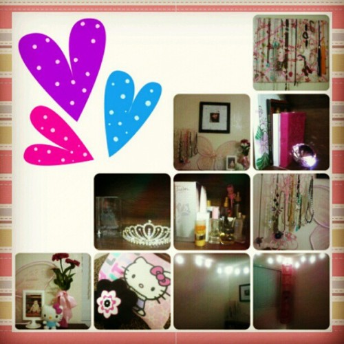 Done redecorating :) #pink #girly #bedroom #lights #hellokitty #flowers #hearts #sparkly #necklaces #accesories