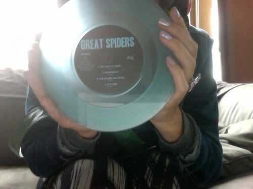 "My transparent electric blue copy of Great Spiders 7"". I would tell you where you could find a copy, but unless you buy lots of pot on the hill or see him walking around with his computer case full of them, you might be SOL"