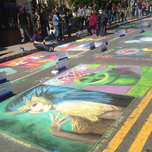 Beautiful sidewalk art yesterday at Harvard Square's Mayfair (at Harvard Square)