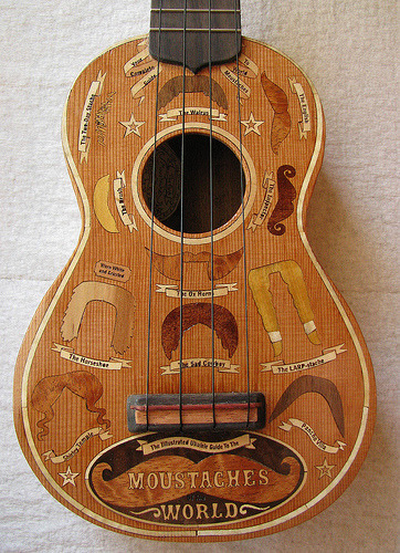 themanoctave:  ukehunt:  The famous moustache ukulele close up(via The Complete Ukulele Guide to the Moustaches of the World | Xylocopa)  WANT