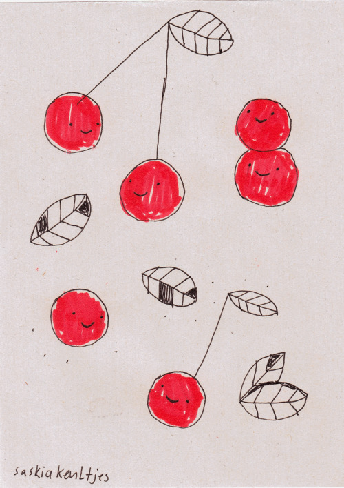 Today: just some cherries by Saskia Keultjes shop facebook  I drew this yesterday, when I was in a little Café in Berlin. I was watching people with my roommate, and a woman with cherry red ballerinas inspired me to this doodle.