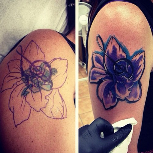 Cover ups #tattoos #tattoo #follow #oldschool #oldschooltattoo #tattooartist #tattooshop #ink #inked #toronto #torontotattoo #art #artist #tattooflash #photooftheday #coverup #girlswithtattoos #flower #music #orchid #color #nofilter