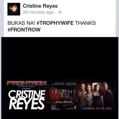 FRONTROW SUPPORTS CRISTINE REYES :)   #FRONTROWFOREVER :)
