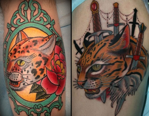 I saw a submission by J.R. Jenkins on FYEAHtattoos today of a jaguar- it seemed very familiar, so I pulled some photos up.The left is J.R. Jenkins ripoff. To the right is the original by Stefan Johnsson.Even when traced, the tattoo still turned out badly- and then he had the nerve to post it up on FYEAH.Just wanted to share ;)  Email submission, which makes me super happy because you guys are like goddamn watchdogs. HOWEVER, it's especially shitty because I know it's one of my followers who has the awesome Stefan Johnsson piece and I critiqued it a few months back. [Here's the FYT post.] On the plus side, at least this idiot didn't rip off the swords (which is personally my favorite part) and whoever decided to wear it is stuck with a shitty piece. Bahumbug.