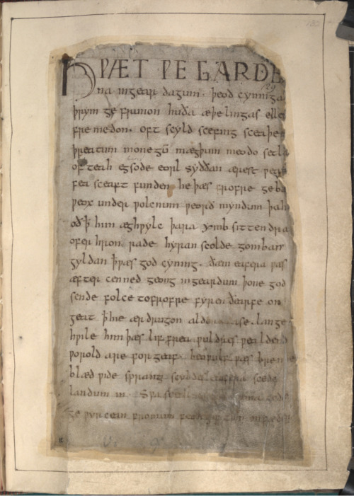 myimaginarybrooklyn:  Opening page of the oldest surviving Beowulf manuscript. In the collection of The British Library. {Hwæt! We Gar-Dena in gear-dagum þeod-cyninga, þrym gefrunon, hu ða æþelingas ellen fremedon!}