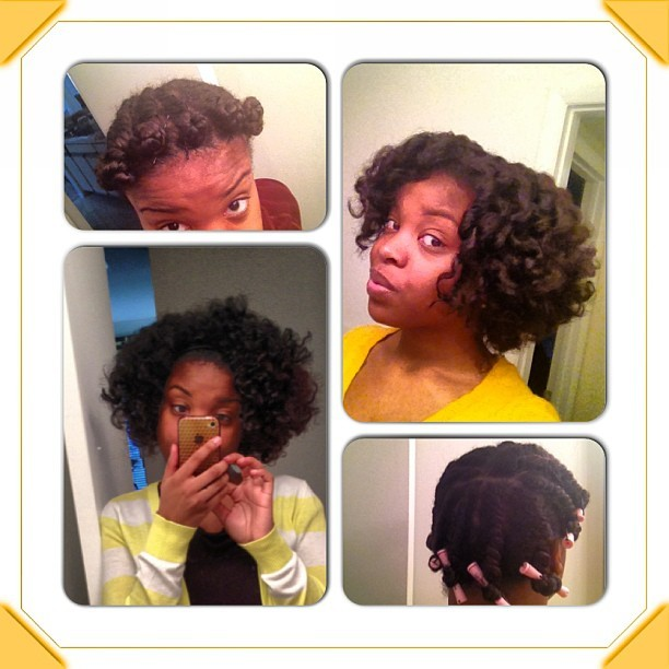 Trying different flat twists. Left with Bantu Knot outs, I sat under a heat bonnet. One to right w perm rods I let air dry. Also Bantu Knot was from wet hair, perm rod was from an old twist out, just damped it. #naturalhair #twistout #permrods #BantuKnots @naturalhairjunkies