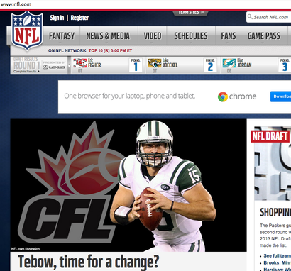 Tim Tebow gets cut, and even NFL.com recommends the CFL. http://sbn.to/15V7p8w