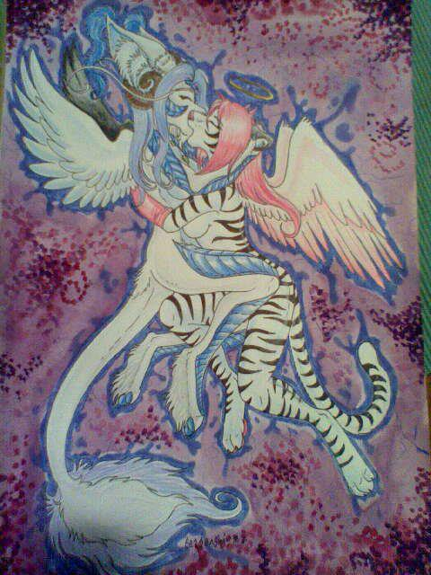 This is a piece of gift art from seasenshi of FA. This traditional piece of art work was done with markers, color pencils and ink and features my character with MissAngelaB of FA.  I framed the original and hung it on my wall.  I ♥ this picture so much.