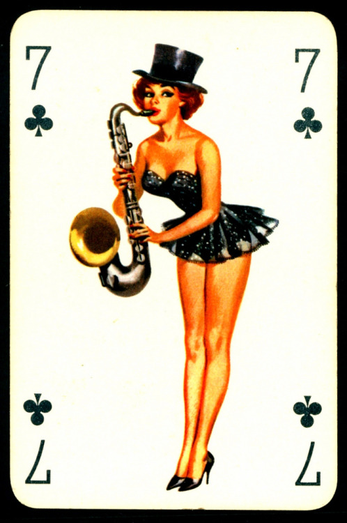fancydancynancy:  hoodoothatvoodoo:  Seven of Clubs Pin-Up Playing Card 1950's  ❤ Vintage Wonderland ❤