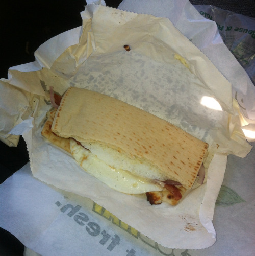 Subway breakfast egg white cheese and bacon sando. First day back to healthy eating.