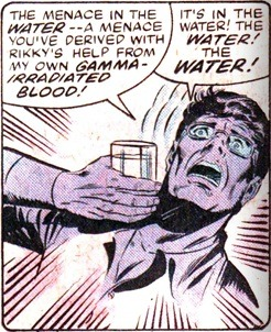 Bruce Banner's ads for bottled water instead of tap were really over the top. No, actually, this was when he worked really hard for Hulk to remember the Leader's evil plan so it could be thwarted. Aside from getting washed away in an out of control flood, it actually worked in the end. Incredible Hulk vol. 2 Annual #11