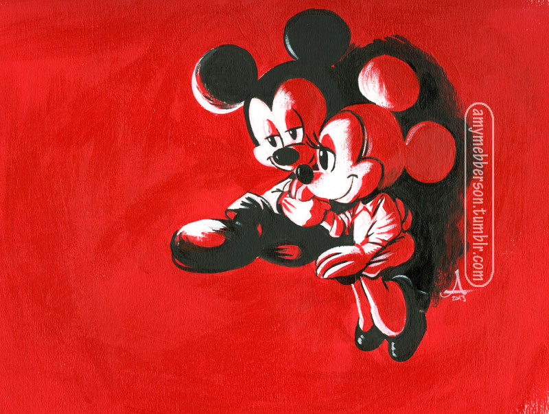 Mickey & Minnie, after a 1960 magazine illustration by Arthur Sarnoff. More acrylic playing around.