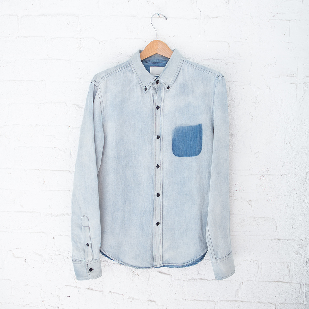 aptnumber9:  One of our favorite items in store - Band of Outsiders' Denim Shadow L/S BD Shirt - http://apt9.co/13KEdok  Want