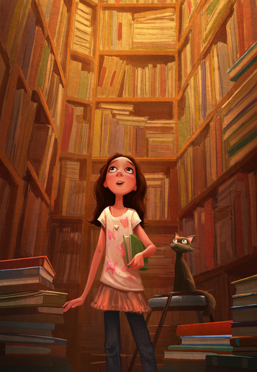 bookmania:  A girl in butterflies, her black cat, and tons of books! (Illustration by Erwin Madrid)  thanks for your