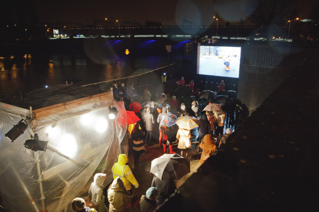 pidginperfect:  'Girl Walk // All Day' Temporary cinema experience on the banks of the River Clyde for the Glasgow Film Festival 2013 Thanks to friend and photographer Mary Freeman for taking these beautiful shots of our 'Girl Walk // All Day' event in February for the 2013 Glasgow Film Festival.  Brings back to so many happy memories! What a wonderful night, despite the horrid weather!