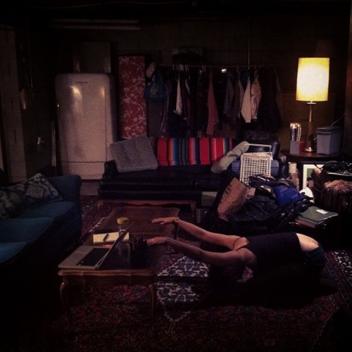 Basement yoga with @heymikij