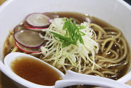 "awyeaveganrecipes:  RAMEN Broth: 2 sliced onions 2 lbs button mushrooms, broken up 1/2 lb king trumpet mushrooms A little rice bran oil (or other neutral oil) 8-10 quarts of water 1/2 handful fermented black beans 1/2 handful whole, peeled garlic 8"" x 12"" sheet of Kombu Noodles: This recipe will do Method: If you have a pressure cooker, saute onions, mushrooms and oil in a pressure cooker until all ingredients are nice and browned. If not, use a stockpot and over low heat until browned. Cover the pressure cooker or stockpot with the water, and add the rest of the ingredients. Cook with the pressure cooker for 30 minutes, or 2-3 hours in the stockpot over low heat. Strain the broth, then season liberally with good quality soy sauce or shoyu to taste. Cook the noodles. Plate your broth in a large bowl, then add the cooked noodles. Top with your choice of ingredients. Things that go great are shaved radish, green onions, good quality smoked tofu (we love Hodosoy), bamboo shoots and shredded cabbage."