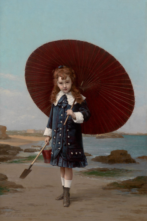soyouthinkyoucansee:  Jules Emile Saintin (1829-1894) 1880 painting young girl at the beach