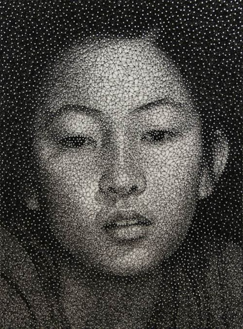 (Portraits with One Sewing Thread by Kumi Yamashita | Web Odysseumから)