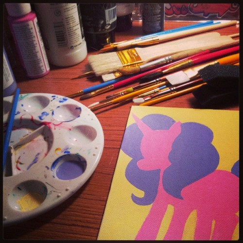 It's a pony painting type of night. #art #paint #unicorn