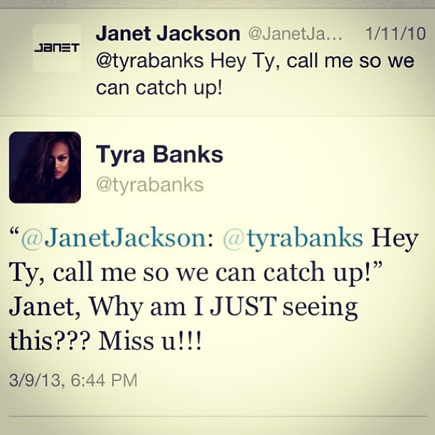 alexandergold:  Tonight, Tyra Banks responded to a three-year-old tweet from Janet Jackson. Unbelievable.   I love everything you choose to be tyra