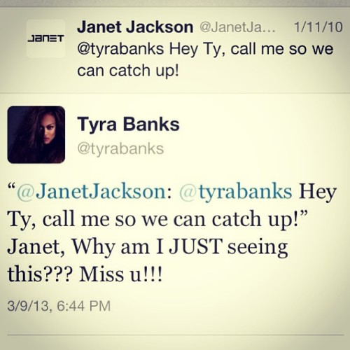 lindsaylohangmyself:  alexandergold:  Tonight, Tyra Banks responded to a three-year-old tweet from Janet Jackson.   this should be in history books
