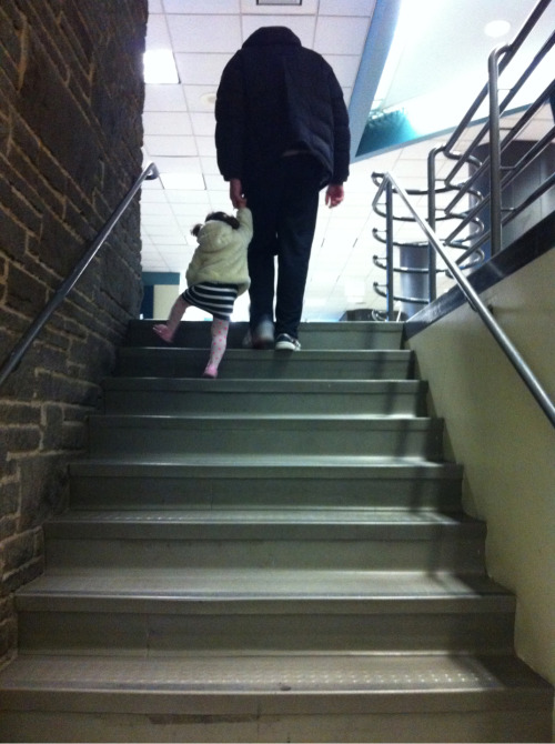 These are my people after swimming lessons. All big, walking up the stairs.